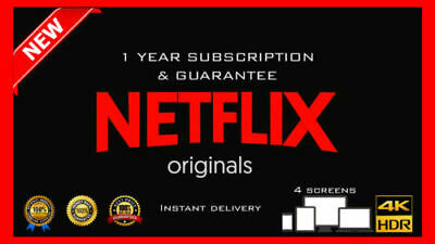 Netflix Gift & Warranty: 4K UltraHD | 4 Screens | 12 Months | 100% Cheap [Fast]