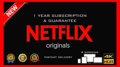 Netflix Gift & Warranty: 4K UltraHD | 4 Screens | 12 Months | 100% Cheap [Fast ]