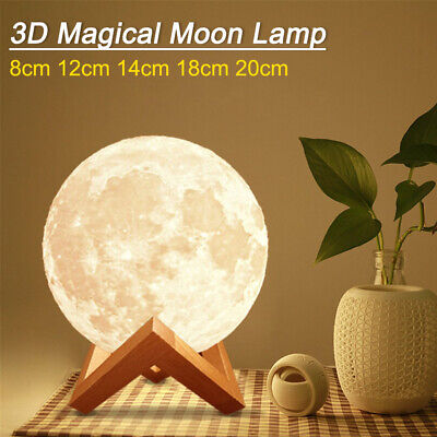 Dimmable 3D Magical Moon Night Light Moon Lamp USB LED Touch Sensor Gift Lamp