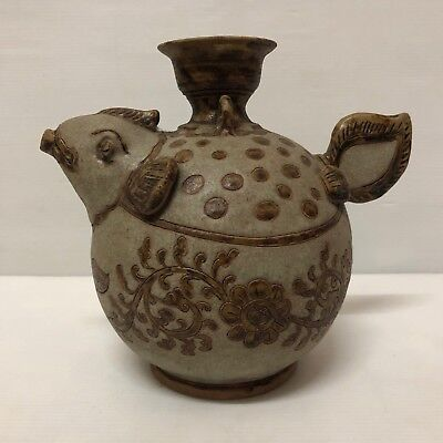 Antique  Thai  Stoneware Chakri Dynasty   Fish Shaped Kendi Vase