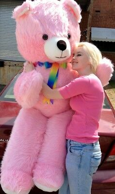 American Made Giant 6 Foot Teddy Bear Pink Soft Huge Plush Animal Made in USA