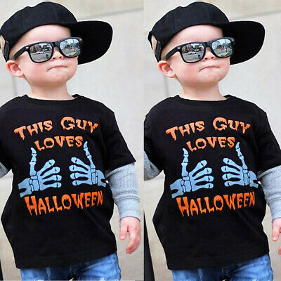 Kids Toddler Baby Boys Short Sleeve T-shirt Halloween Floral Tee Tops Clothes