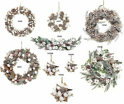 Pre Decorated Real Cotton Wreath Garland Balls Christmas Home Decor Decorations