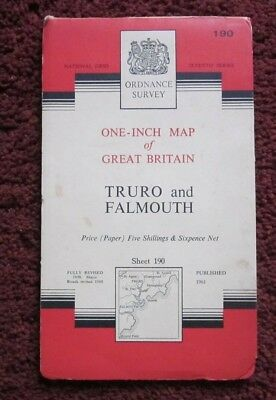 Truro & Falmouth -  Ordnance Survey One-Inch Map  .  Sheet 190  , 1961    #