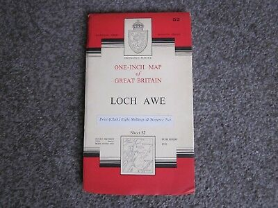 Loch Awe  -  Ordnance Survey One-Inch Cloth Map  .  Sheet 52  , 1962
