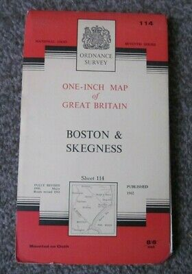 Boston & Skegness  -  Ordnance Survey One Inch Cloth Map  .  Sheet 114  (11)
