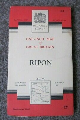 Ripon  -  Ordnance Survey One Inch Cloth Map  .  Sheet 91  (11)