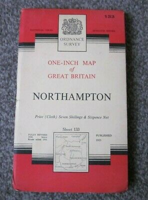 Northampton  -  Ordnance Survey One Inch Cloth Map  .  Sheet 133  (11)