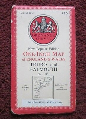 Truro & Falmouth -  Ordnance Survey One-Inch Map  .  Sheet 190  , 1946    #