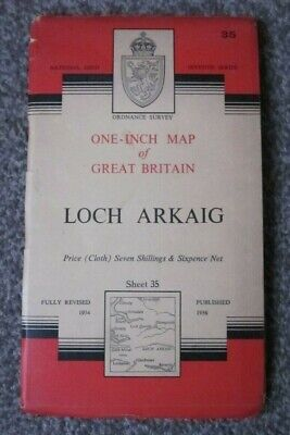 Loch Arkaig  -  Ordnance Survey One Inch Cloth Map  .  Sheet 35  (11)