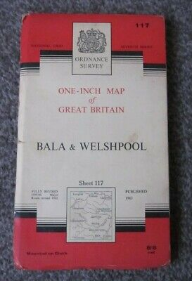 Bala & Welshpool  -  Ordnance Survey One Inch Cloth Map  .  Sheet 117  (11)