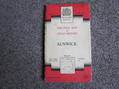 Alnwick  -  Ordnance Survey One Inch Cloth Map  .  Sheet 71  (11)