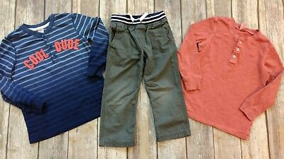Carter's 3t 4t blue striped salmon henley shirts gray pants AFP