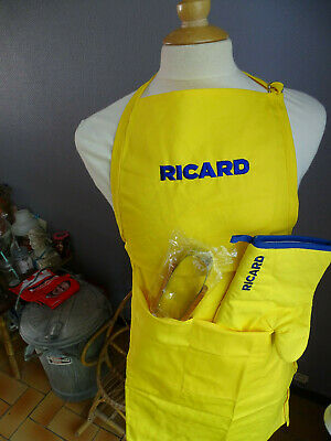 Lot Neuf Ricard Barbecue Tablier Manique Pince Aperitif Bistrot Bar Anisette