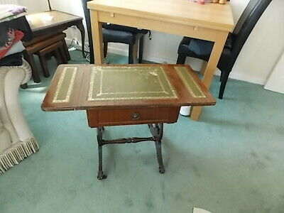 Fabuous Vintage Reproduction Drop Leaf  Occasional Table With Drawer On Casters