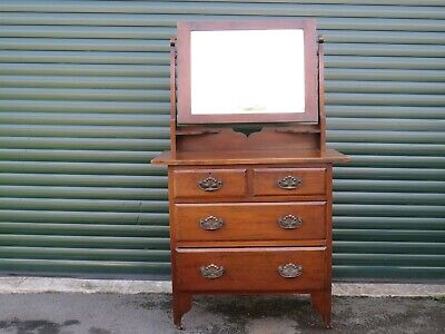 Antique Mahogany Dressing Table Chest With Bevel Edged Mirror Chest Of 4 Drawers