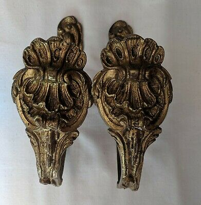 Pretty Pair Antique French C19th Bronze Gilded Tie Backs Shell Detail- Baroque