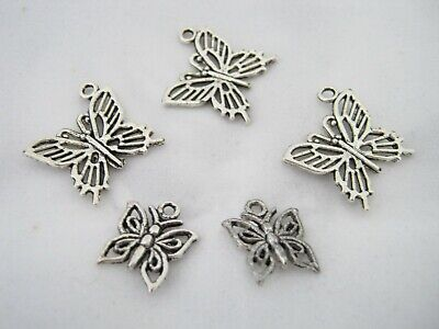 5 Antique Silver Plated Butterfly Charms, Jewellery Making, Pendants