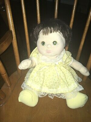 My Child Doll Brunette W/ Pig-tails,Green Eyes,Yellow Lace Trimmed Dress & Socks