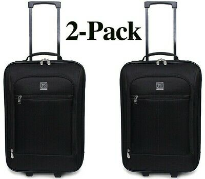 "TWO! Carry On Luggage Suitcase 18"" Cabin Bag Small Lightweight Rolling Baggage"