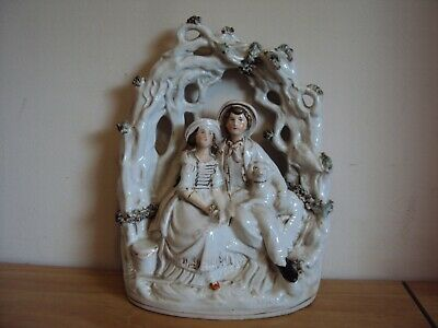 An Antique Large 19th Century Staffordshire Flat Back Group,Couple With Dog