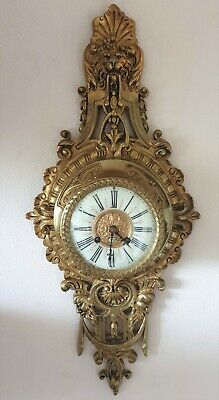 Antique Cartel Clock French Japy Freres Gilt Bronze Striking Cartel Wall Clock