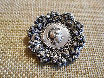 "Antique Vintage Sterling Silver Roman Soldier Brooch Pin1-1/2"" (8 Grams) Signed"