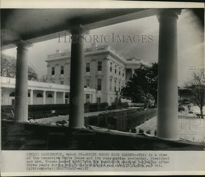 1952 Press Photo Remodeled White House and rose garden in Washington D.C.