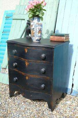 Antique French Serpentine Chest Of Drawers Old Black Paint c.1870's Rustic Chic