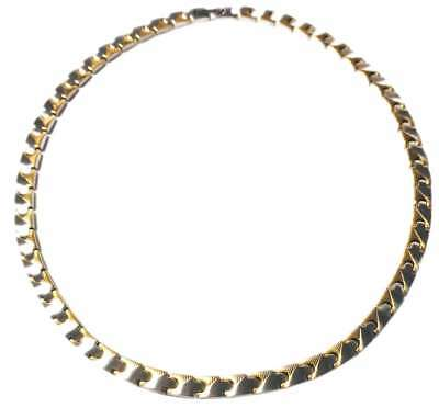 """18.5"""" Gold-Tone Caps - Stainless Steel Magnetic Therapy Link Unisex Necklace"""