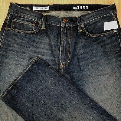 GAP Jeans RELAXED FIT 36x36 Darker Factory Distressed  *BRAND NEW NWT*  M081719