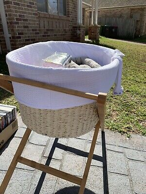 Moses Bassinet With Stand And Sheet Sets Immaculate Condition