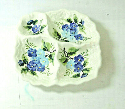 Vintage Divided Ceramic Dish Platter Hand Painted Blue Floral Italy Trinket_#530