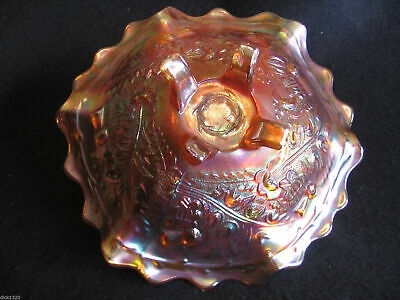 ART DECO SOWERBY 'THISTLE & THORN' CARNIVAL GLASS FOOTED BON-BON DISH 1930's EX