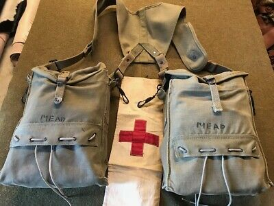 Original WW2 US Army Medic Bags and Harness With With Contents - Used and Named