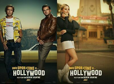 "ONCE UPON A TIME IN HOLLYWOOD 2019 Adv DS 2 Sided 27x40"" Movie Posters Set Of 2"