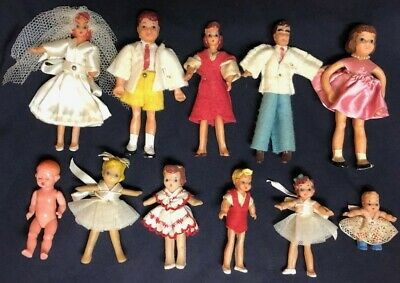 Vintage Doll House Dolls Miniature Family Figurines Mom Dad Children Baby Set