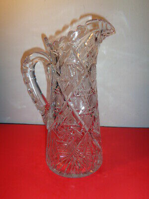 """Antique American Brilliant Ornate Cut Crystal Water Pitcher (11.5 by 5"""")"""