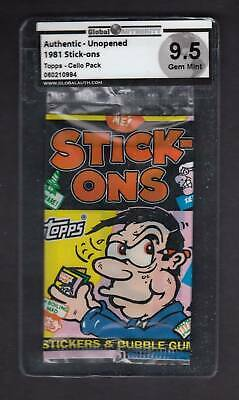 1981 Topps Stick-Ons Unopened Cello Pack - Gai 9.5 Gem Mint