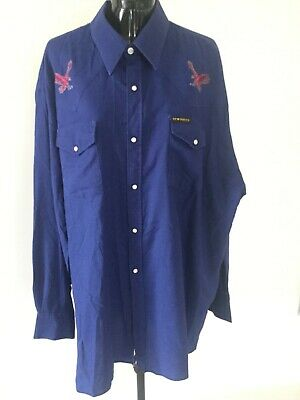 Vintage Blue Embroidered New Breed Western Cowboy Shirt 3XL Pearl Snap Buttons