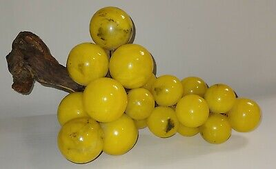 Large Vintage Alabaster Marble Stone Yellow Black Grape Cluster Mid-Century 13""
