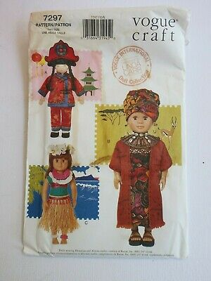 """VOGUE 7297 18"""" Doll INTERNATIONAL COSTUME sewing pattern CHINESE AFRICAN, HAWAII"""