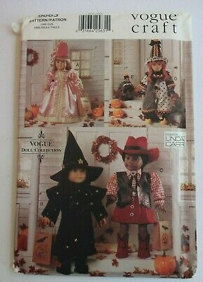 """VOGUE 9663 18"""" Doll COSTUMES sewing pattern PRINCESS, CLOWN, WITCH, COW GIRL"""