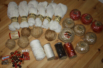Bulk Lot Of Vintage Macrame Skein, Cord, Twine, Beads