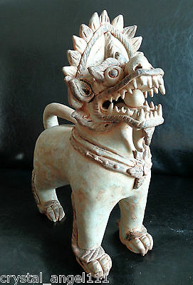 ANTIQUE  19thc LARGE CHAKRI DYNASTY  THAI STONEWARE   DRAGON LION  DOG   FIGURE