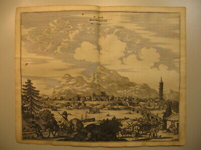 ~1670 Kupferstich Ansicht De Stadt Kinningfoe The Citie / China