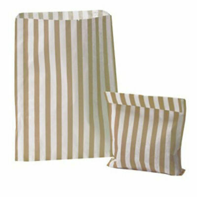 """5"""" x 7"""" GOLD STRIPED CANDY PAPER BAGS FOR SWEET FAVOUR BUFFET WEDDING CAKE SHOP"""
