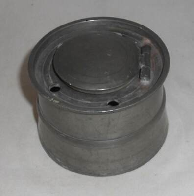Antique ca. 1800 Pewter Inkwell Round Base, Hinged Lid and Porcelain Insert
