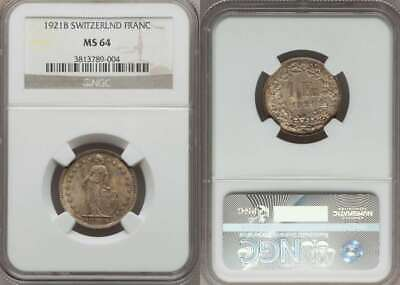Champagne Toned Switzerland Confederation Silver Coin 1921B One Franc NGC MS64