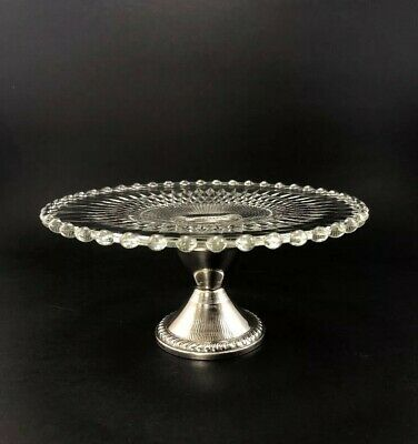 Duchin Sterling and Imperial Candlewick with Diamond Pattern Cake Plate